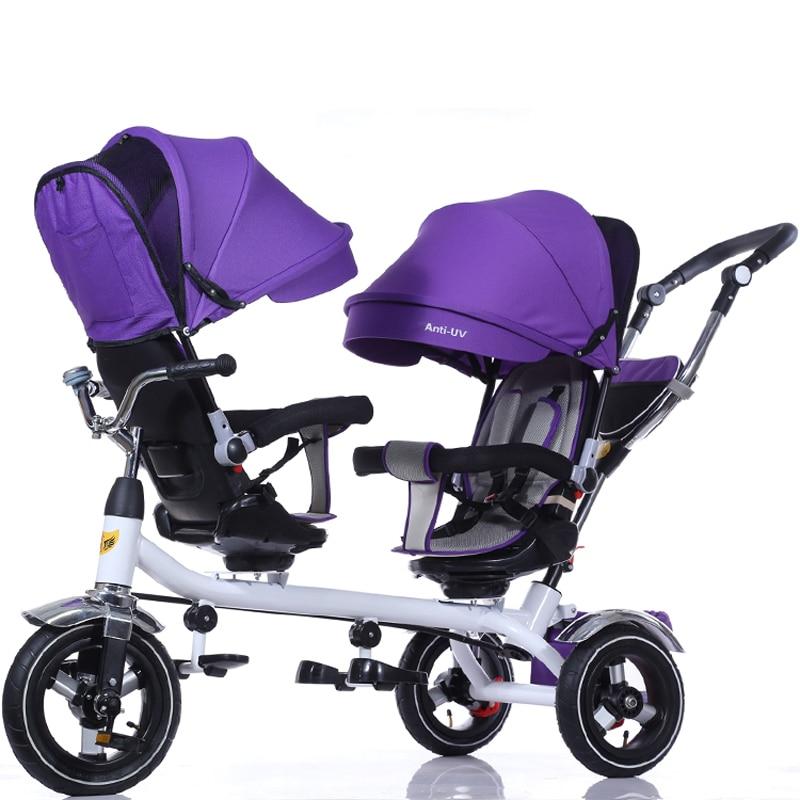عربة أطفال توأم ثلاثية العجلات 3 عجلات عربة أطفال مزدوجة للأطفال مقعد درابزون طفل رضيع دراجة سيارة ثلاثية العجلات عربة أطفال