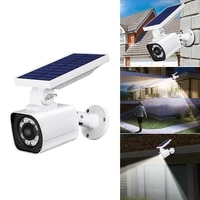 solar powered outdoor motion sensor spot light dummy security camera 3 modes ip65 waterproof 8 bright whiteleds1 red led