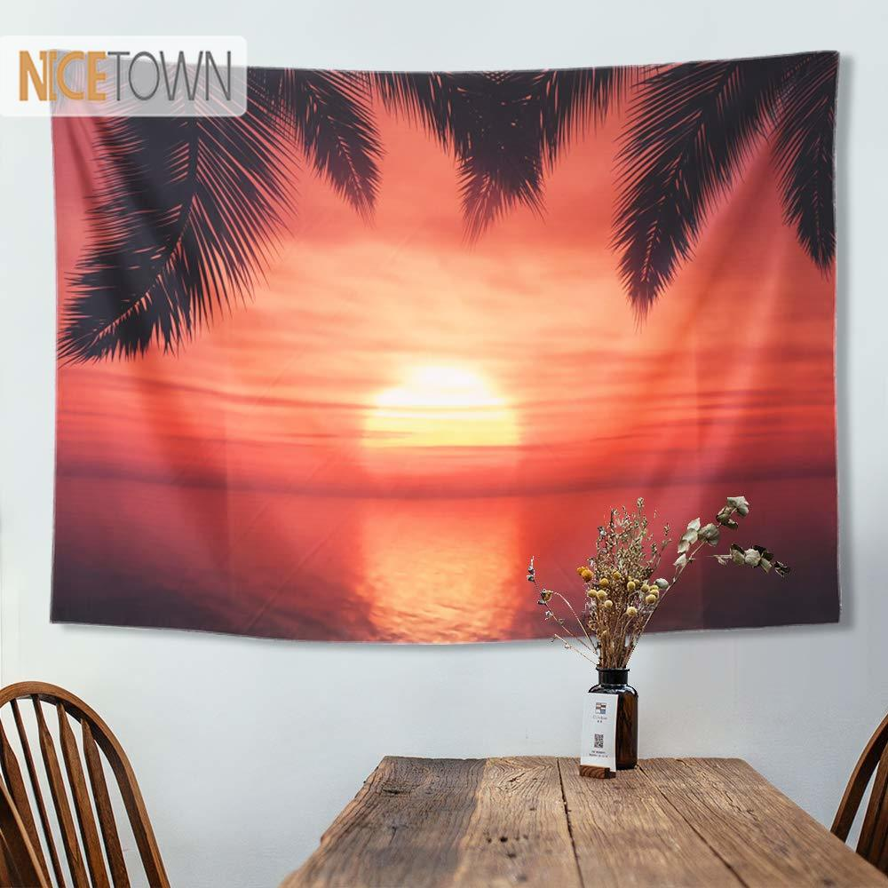 Tapiz de nictown colgante de pared puesta de sol naturaleza océano paisaje Natural para cama techo pared playa sábana para picnic dormitorio Decoración