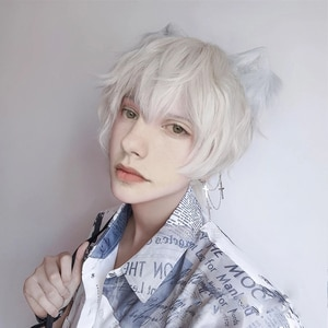 Ailiade Male's Short Straight Curly Wig Light Yellow Synthetic With Bangs Cosplay Costume Anime Wigs for Men Women Boy Halloween
