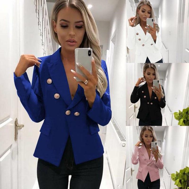 2019 otoño mujer doble Breasted Color sólido chaqueta Casual abrigo Retro manga larga Outwear señoras básico bombardero chaqueta DG297