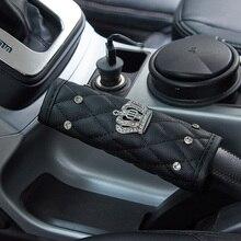1 قطعة حجر الراين كريستال تاج السيارات سيارة فرملة اليد مقبض عصا غطاء الزخرفية