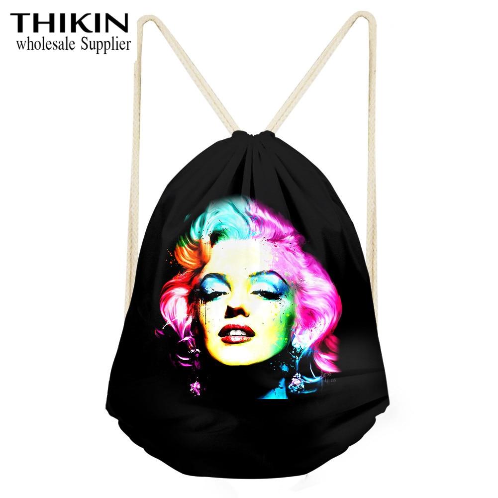 THIKIN Sexy clásico Marilyn Monroe bolsa con cordón de impresión para mujer Paquete de almacenamiento de viaje de moda para niñas mochilas de hombro de la escuela diaria