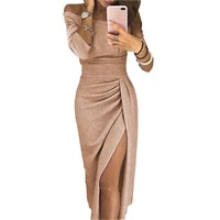 2021 sexy slash neck off shoulder high waist dresses elegant female solid color maxi dress for women bright party dress