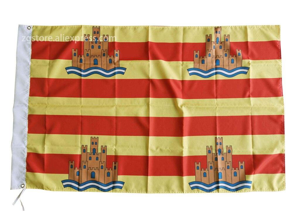 Flag of Ibiza Balearic Islands Spain Flag Banner 3X5FT 150X90CM Polyester Banner brass metal holes Home Decor