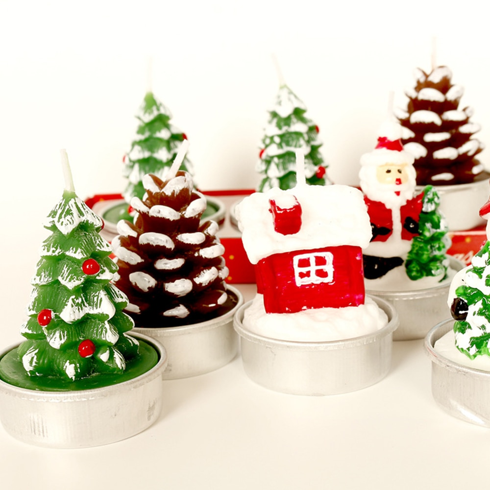 Рождественские свечи 3 шт./компл., креативные Рождественские елки, сосновые конусы, парафиновые свечи, рождественские декоративные свечи