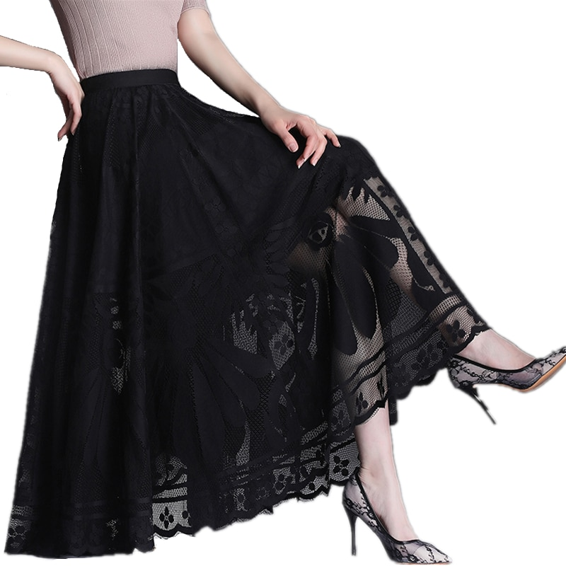 sequined high low hem fish tail skirt 2021 New Spring Autumn Women High Waist Slim Big Hem Long Skirt High Quality Elegant Vintage Black Lace Skirt