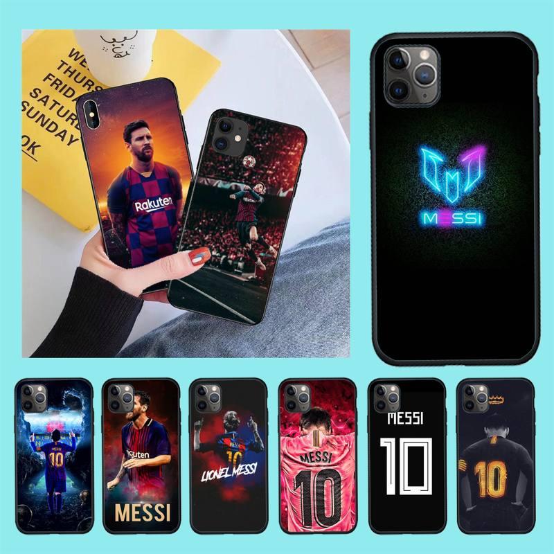 CUTEWANAN fútbol jugador Messi cubierta negro suave Shell teléfono caso para iPhone 11 pro XS MAX 8 7 6 6S Plus X 5S SE 2020 XR funda