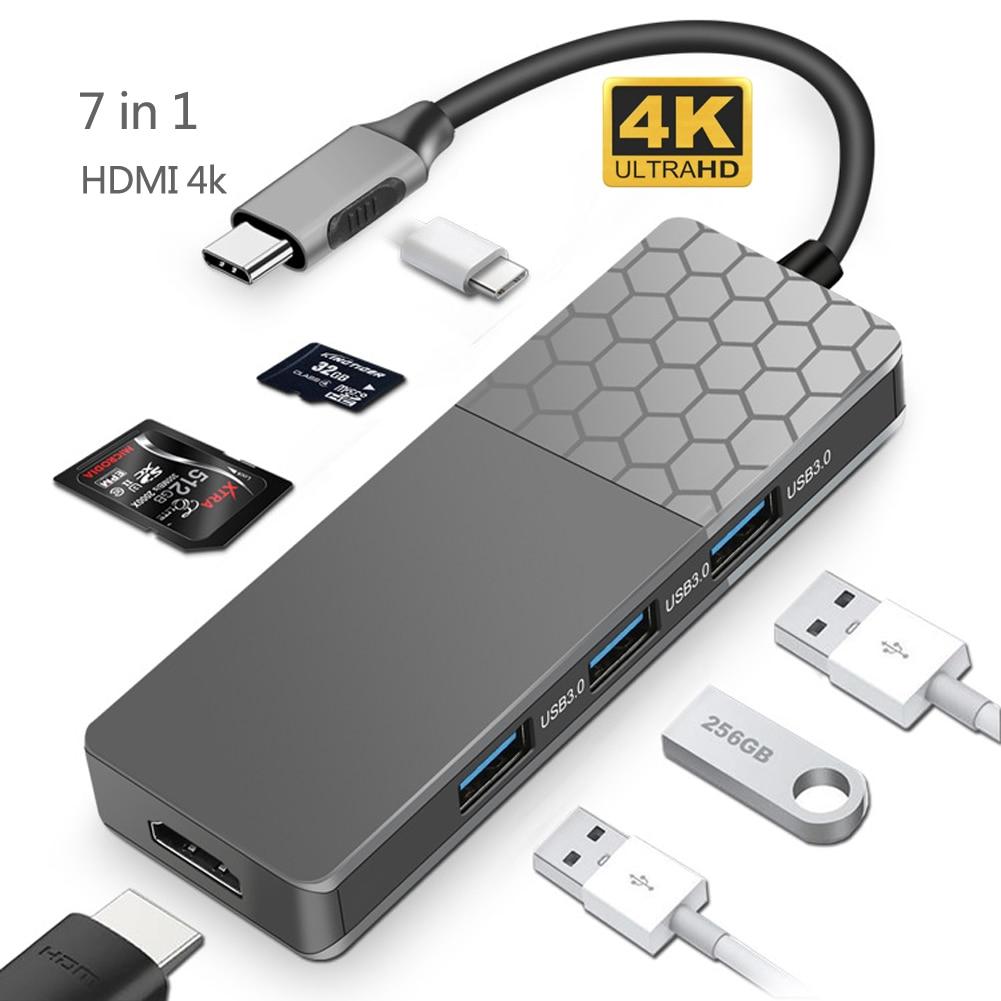 ILEPO 7 في 1 USB C HUB 4K HD PD 100 واط HDMI محول ل ماك بوك برو هواوي ماتي 30 سامسونج باد محمول USB الفاصل نوع C USB 3.1