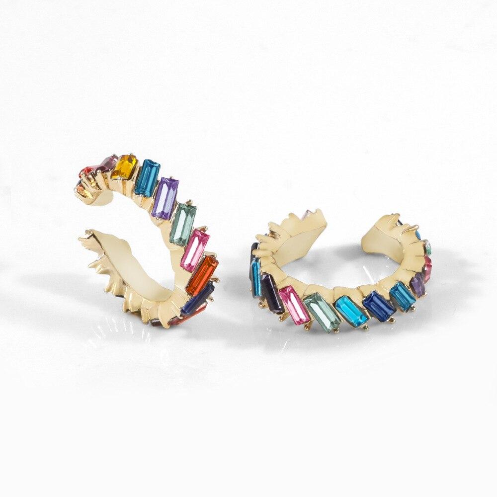 Itenice cristal metal orelha cuff conjunto para as mulheres boho empilhável c em forma de cz strass pequenos brincos clipe jóias de casamento