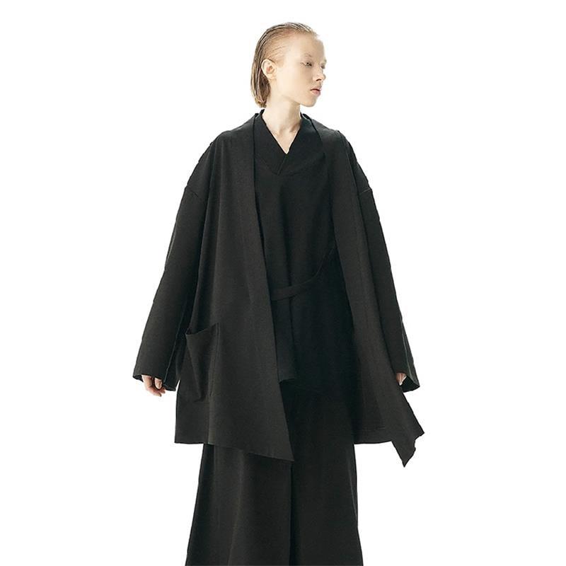 الرجال خندق معطف سترة كيمونو سوبر فضفاض المعتاد أسود داكن