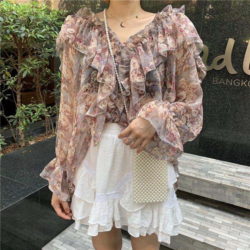Estrangeiro kitty 2020 moda fresco florais mangas completas blusas soltas trabalho festa streetwear doce feminino senhora meninas camisa casual