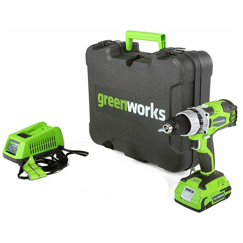 مفك براغي كهربائي مزدوج السرعة 24 فولت من Greenworks 60N.m مثقاب لاسلكي قابل لإعادة الشحن أدوات كهربائية منزلية