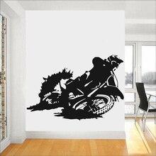 Moderne moto Stickers muraux Motocross Silhouette extrême Sport décor à la maison pépinière vinyle auto-adhésif Stickers muraux Z218