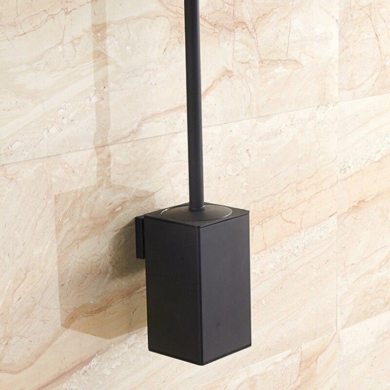 الفولاذ المقاوم للصدأ فرشاة المرحاض الأسود حامل فرشاة تنظيف الحمام مع فرشاة المرحاض جدار جبل