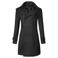 Plus-size trench coat masculino duplo breasted meados de comprimento poroso 3d trench coat duffle casaco jaqueta