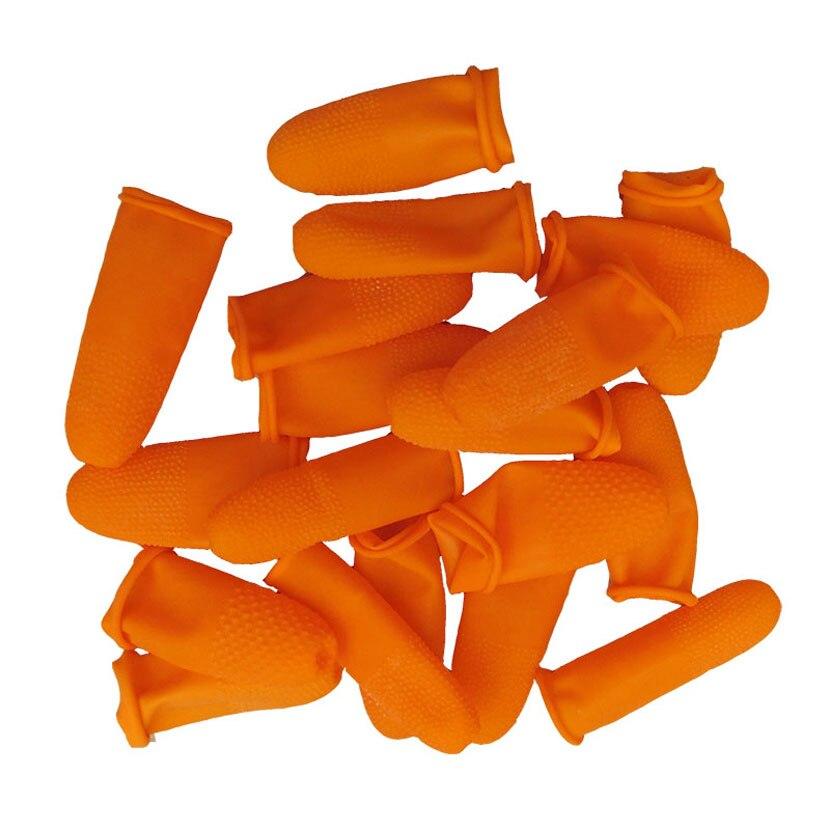 100PCS Reusable Orange Fingerlinge Natürliche Gummi Latex Nicht-slip Finger Abdeckung Schutzhülle Industrie Ungiftig Handschuhe Nagel Kunst werkzeug