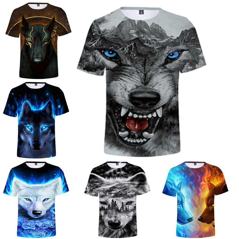 2020 New Wolf Print T-Shirt Animal 3d Summer Trendy Short Sleeve Tops Men/Female Adult 3D Clothes Top