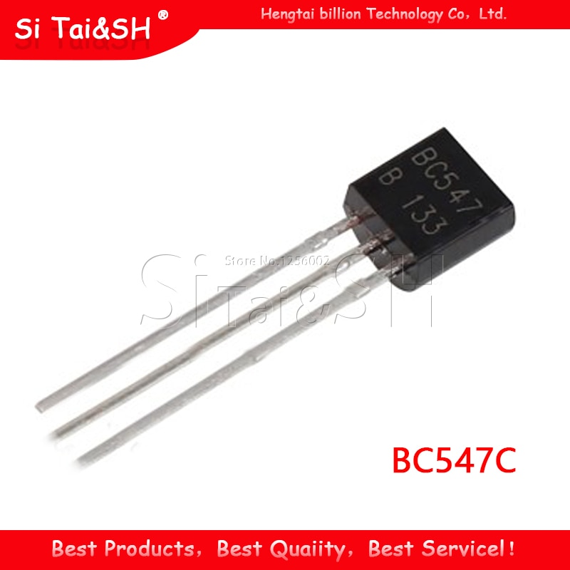 100 unids/bolsa BC547C a 92 45V / 0.1A NPN transistor de baja potencia