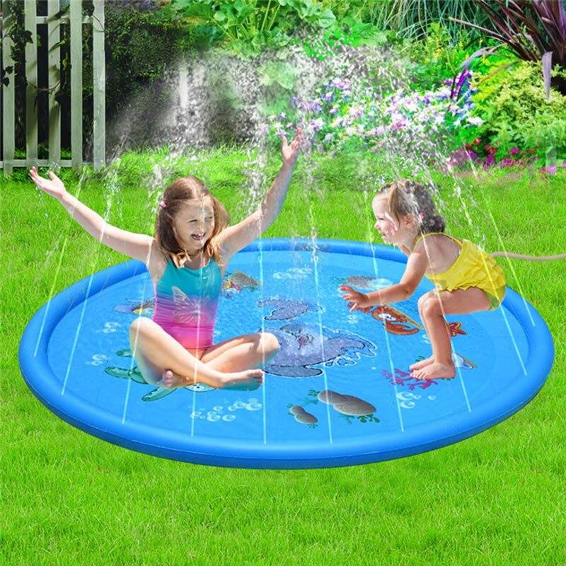 Cojín inflable para piscina de 100cm/170cm, colchoneta para Agua pulverizada de agua, juegos de césped, juguetes de aspersor, bañera para exteriores, piscina