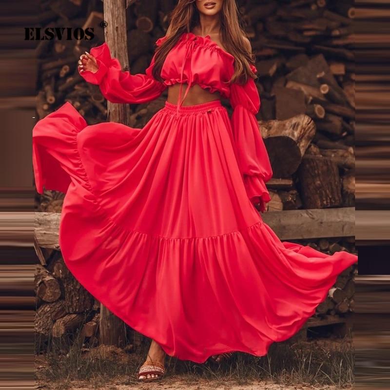بدلة تنورة ماكسي مثيرة 2021 ربيع الخريف طويلة الأكمام بدون حمالات تنورة فضفاضة مطوي الشاطئ الزي المرأة ملابس عطلة غير رسمية