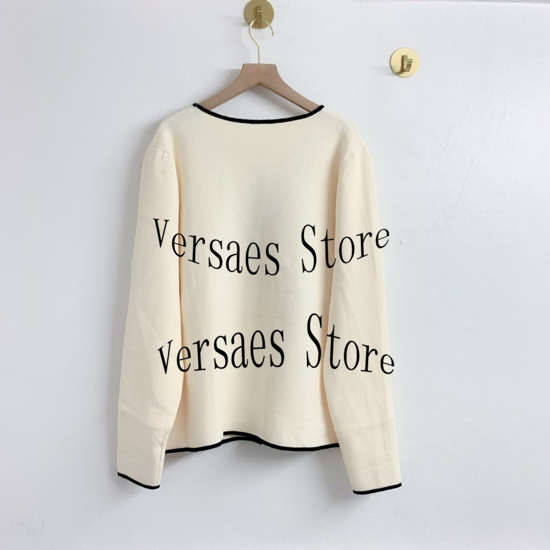 2021 luxury design fashion double breasted women's knitted cardigan temperament sexy V-Neck long sleeve women's knitted cardigan enlarge