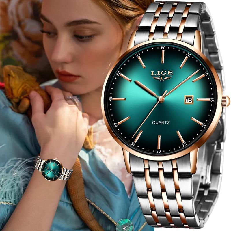 LIGE Luxury Ladies Watch Women Waterproof Rose Gold Steel Strap Women Wrist Watches Top Brand Bracelet Clocks Relogio Feminino