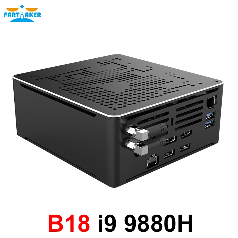 Gaming Mini PC i9-9880H 8 Core 16 Threads 2*DDR4 2666MHz 2*M.2 Nuc Windows 10 Pro Linux Desktop Computer AC Wifi DP HDMI