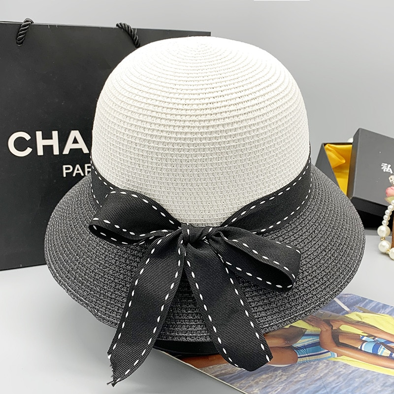 Summer Women's Warp Knitting Bow Decoration Black and White Patchwork Top Hat Wide-brimmed Sunscreen Straw Hat