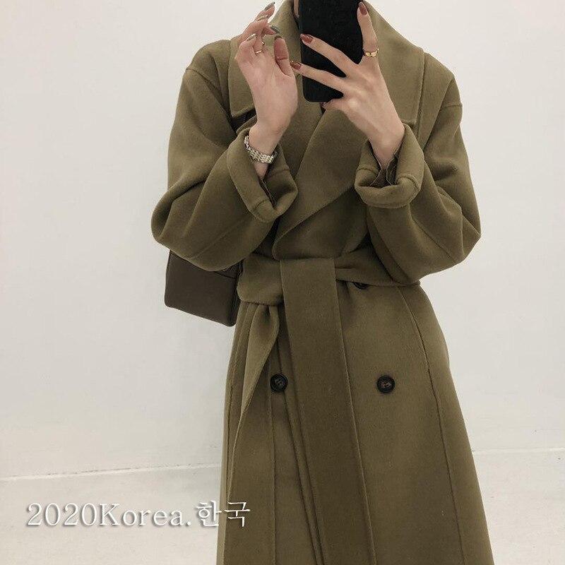 معطف شتوي نسائي طويل من الصوف على الوجهين 2020, مع حزام جلد كوري فضفاض بمقاس كبير مصنوع يدويًا 100% معطف من الصوف