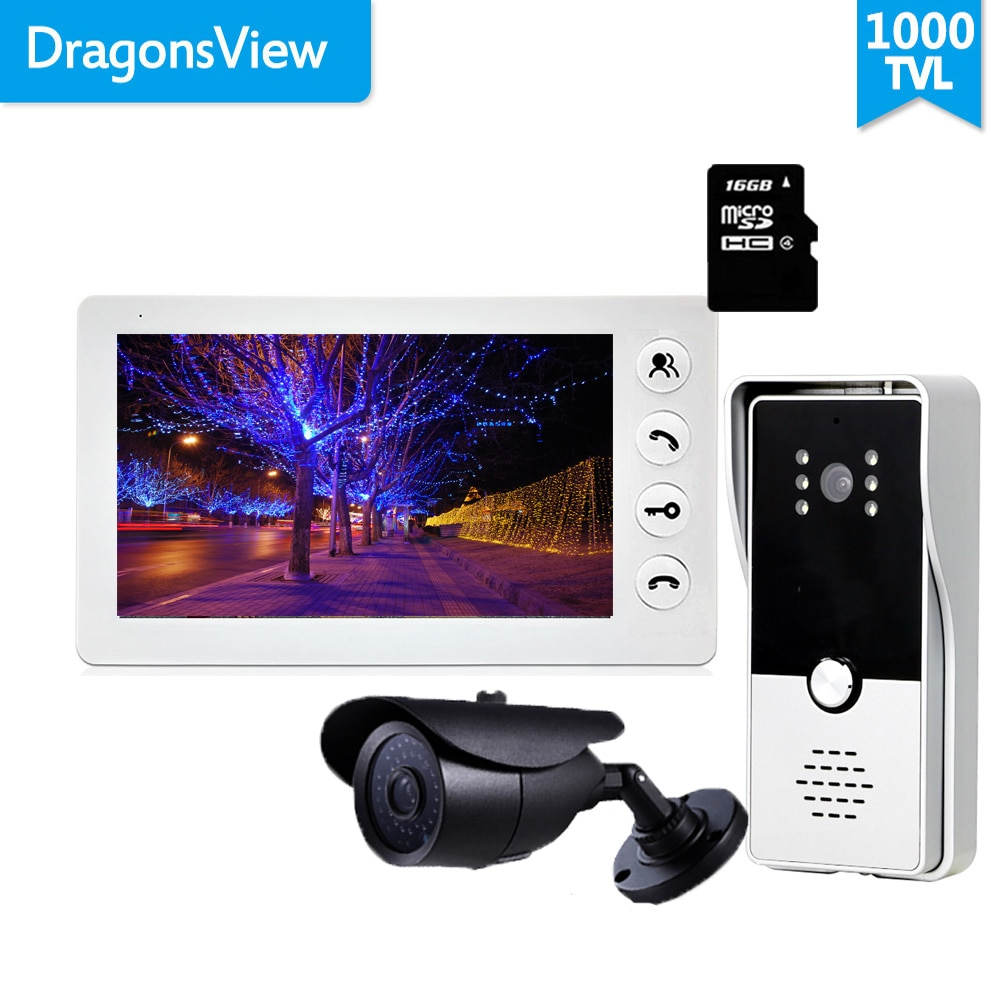 Dragonsview المنزل نظام اتصال داخلي 7 بوصة فيديو باب الهاتف الجرس كاميرا سجل كشف الحركة فتح بطاقة SD