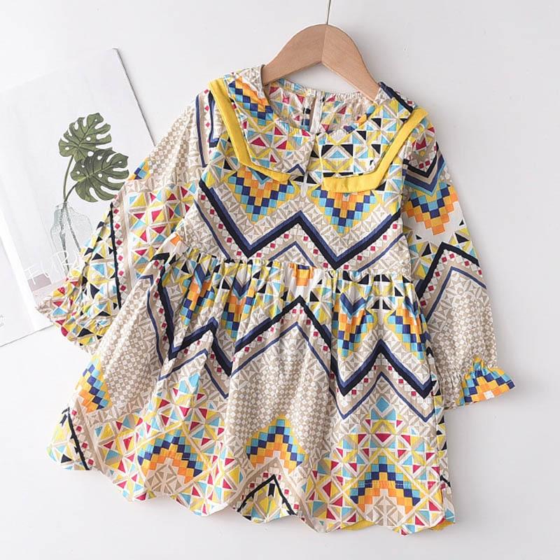 Menoea Girls Autumn Dress 2020 New European & American Style Kids Geometry Long Sleeve Lapel Casual Dresses Costume 2 7 Years