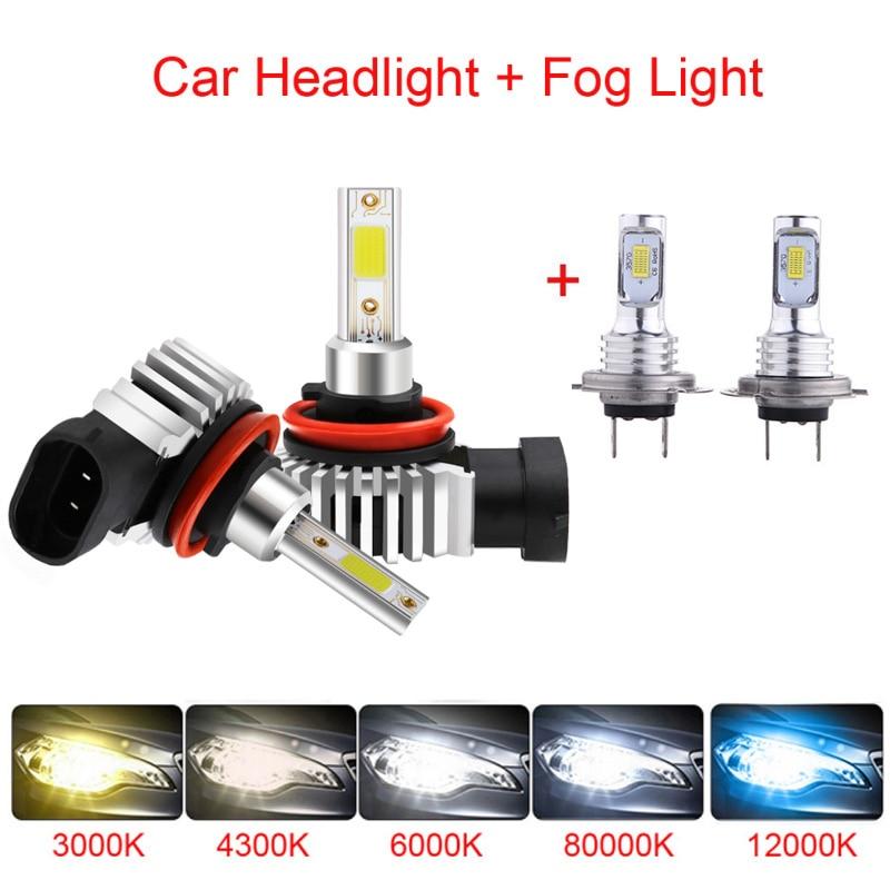Car LED Headlight Bulbs Super Bright Auto Foglight Lamp H1/H4/H7/H11/H13 6000K 12000LM Bright IP68 Waterproof Car Accessories