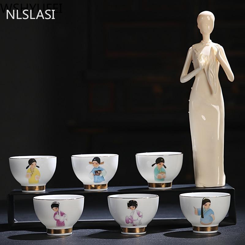 6 قطعة أكواب شاي سيراميك الصينية رسمت باليد الأزرق و شاي أبيض مجموعة الخزف الشاي السلطانية فنجان شاي عدة نبيذ اكسسوارات الصينية هدية