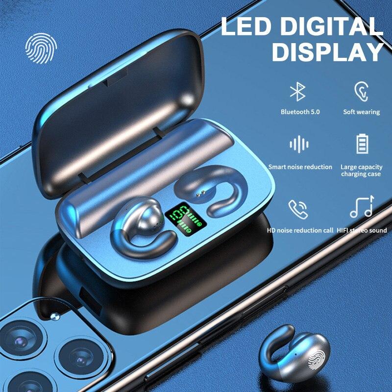 S19 display digital tws condução óssea fone de ouvido bluetooth binaural estéreo alta fidelidade bluetooth v5.0 chamada música esportes fones de ouvido