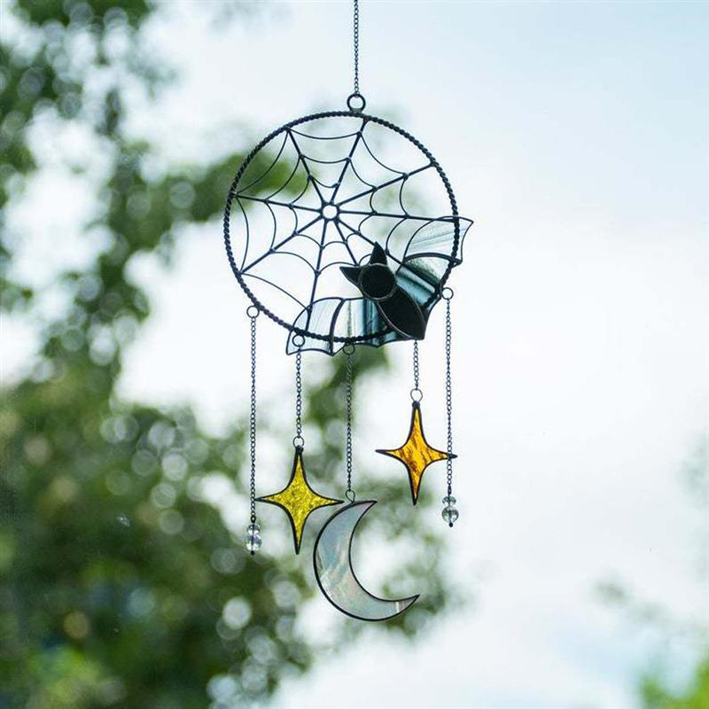 Colgante de acrílico gótico para Halloween, luna de murciélago, colgante de ventana...