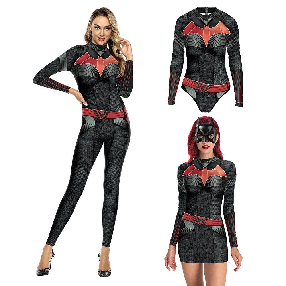 El caballero oscuro Batman disfraces Cosplay mujer traje de baño de las niñas poliéster Catsuit vestido falda playa monos mono Zentai traje