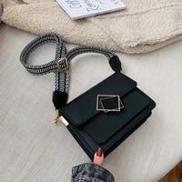 2021 luxury women handbag leather female simple small crossbody bag single shoulder wide strap special lock handbags designer