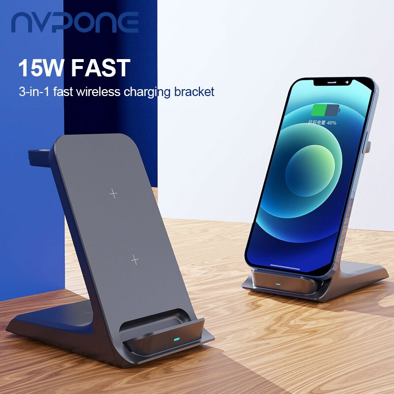 Qi Fast Wireless Charger 15W 3 in 1 For iPhone 12 11 Pro Samaung Huawei Charging Dock Station For Ap