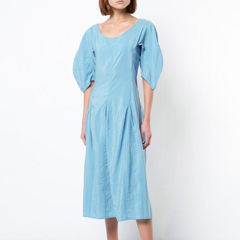 Alta costura rayon vestido feminino cetim de seda azul elegante acolhedor homewear mulher império cintura princesa a linha vestidos resort wear