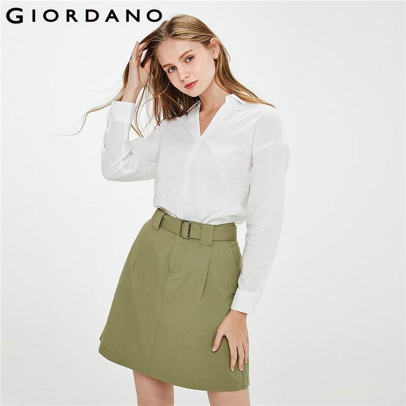 Giordano Women Shirts Linen Cotton V-neck Turn Down Collar Blouse Long Sleeves Curved Hem Banel Cuffs Chemisier Femme 05341483