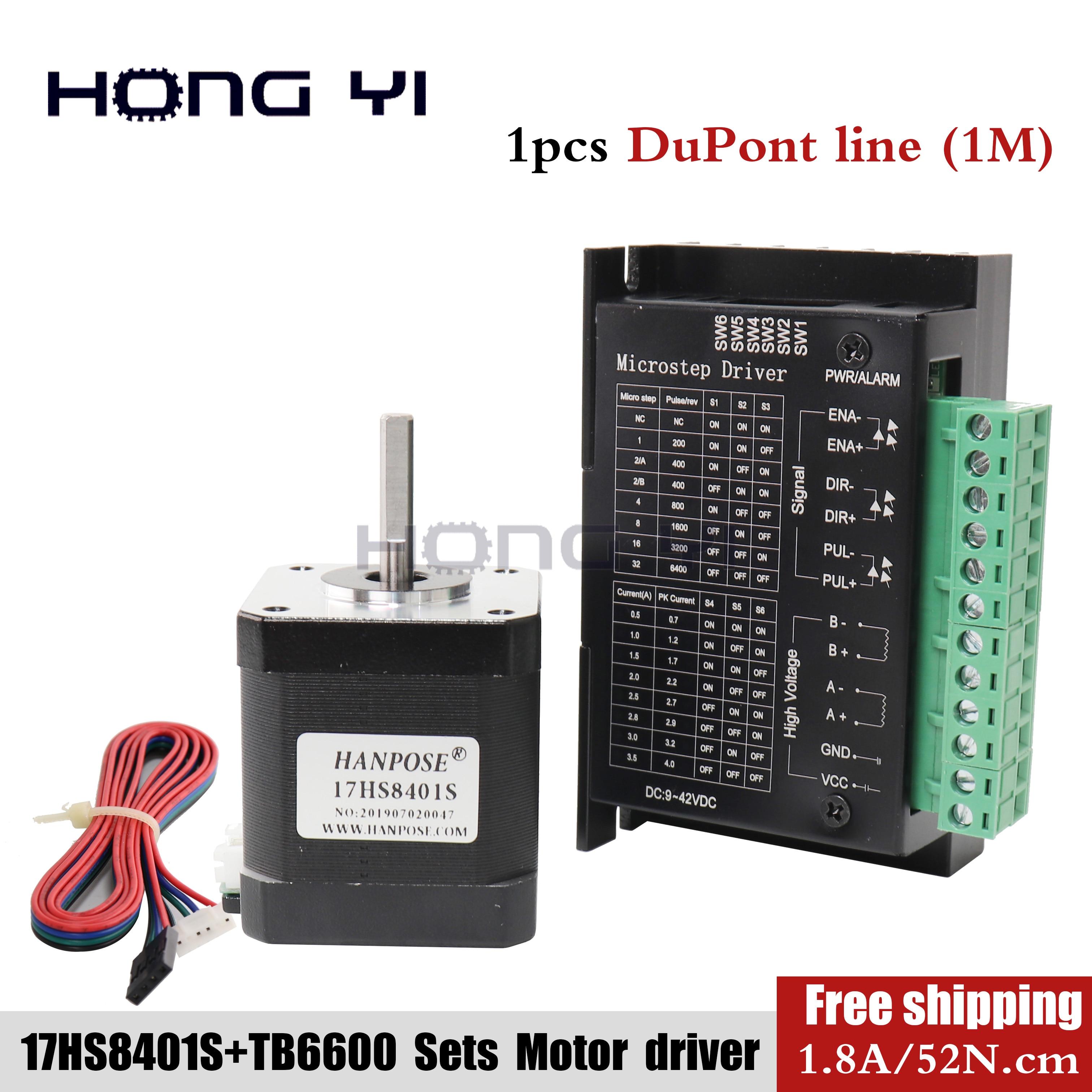 17HS8401 4-lead Nema 17 Stepper Motor driver TB6600 42 motor 42BYGHA 1.8A 52N.cm CE CNC Laser and 3D printer motor