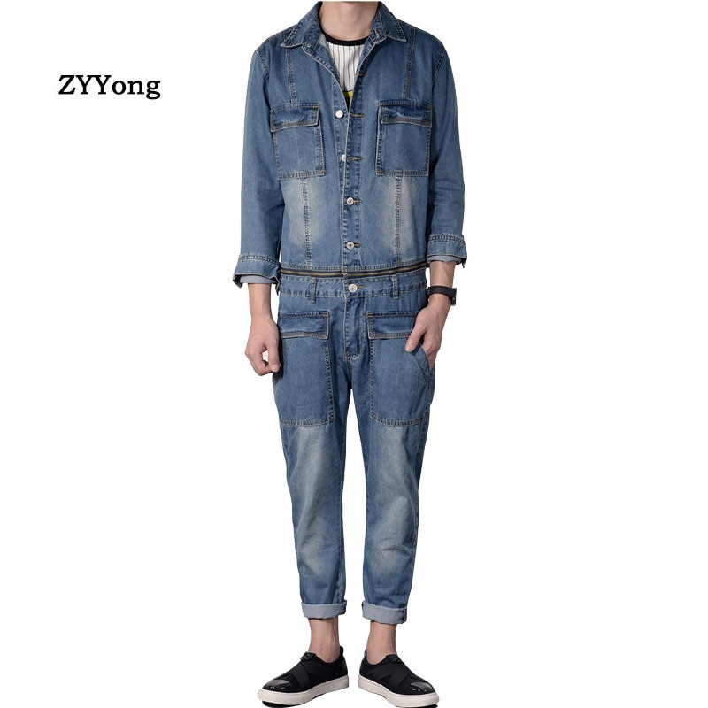 Mono de mezclilla desmontable ZYYong para hombre, Chaqueta vaquera azul de manga larga para hombre, traje de Hip-Hop, ropa de calle, monos para hombre, vaqueros para hombre
