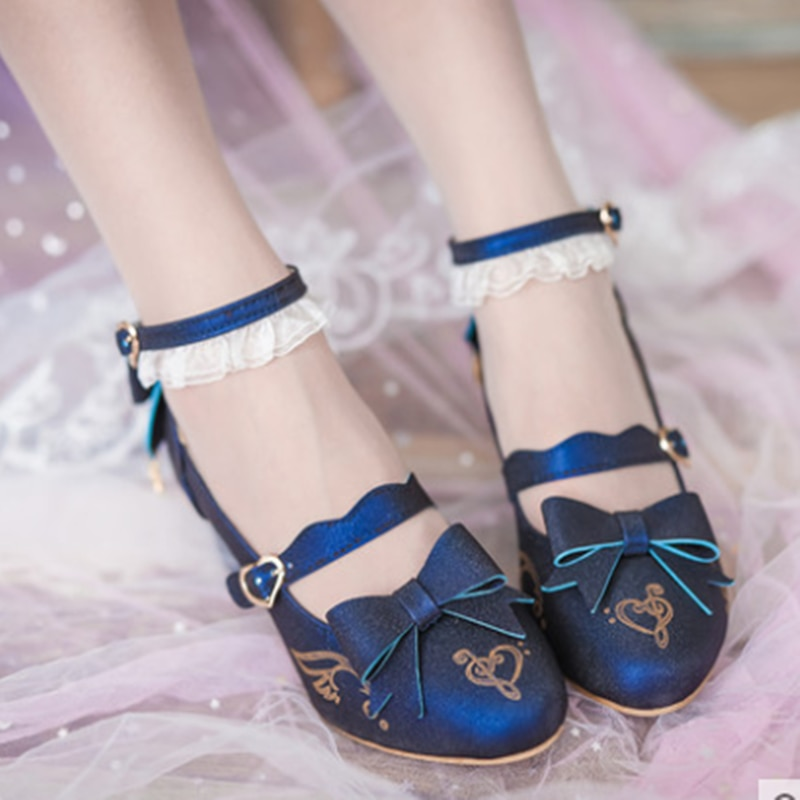 Japanese Lolita small shoes high heel in the thick heel Bowknot Princess Kawaii Girl Women Shoes  Middle Heel cos Lolita loli