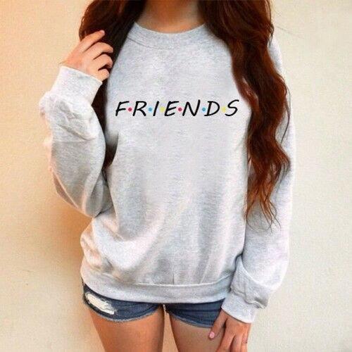 Mujer otoño manga larga amigos imprimir Sudadera con capucha encorvado pulóver suéter abrigo camisetas