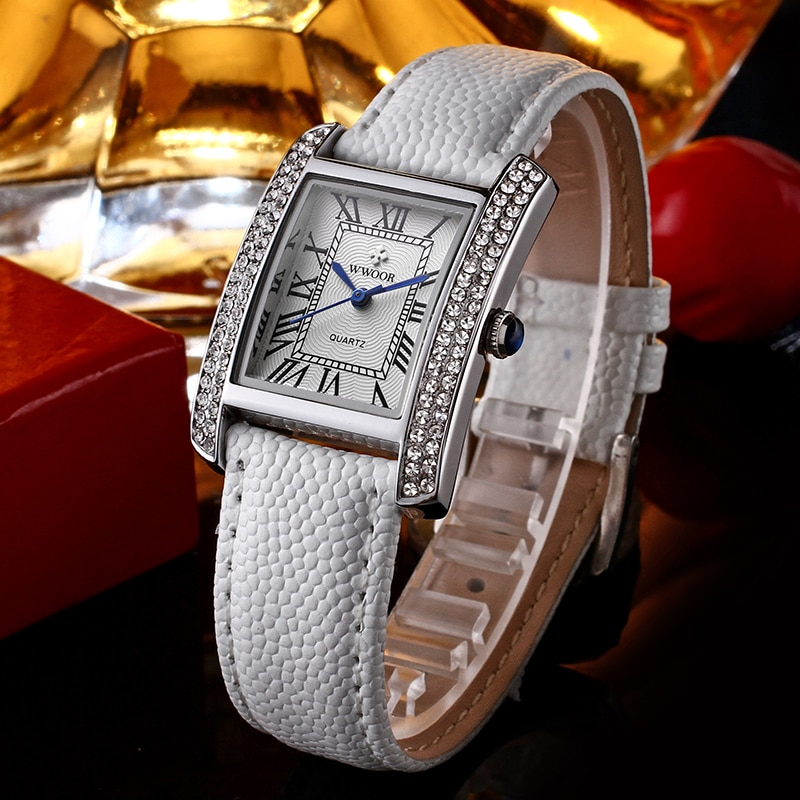 Zegarek Damski 2020 Fashion Bracelet Watch Women WWOOR Famous Brand Ladies Square Watches Luxury Diamond White Leather  xfcs Box enlarge