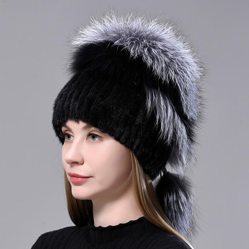 Mink Fur Hat Warm Winter Woman Stylish Natural Fur Knitted Mink Fox  Fluffy Fur Cap  Balls Ladies Fe