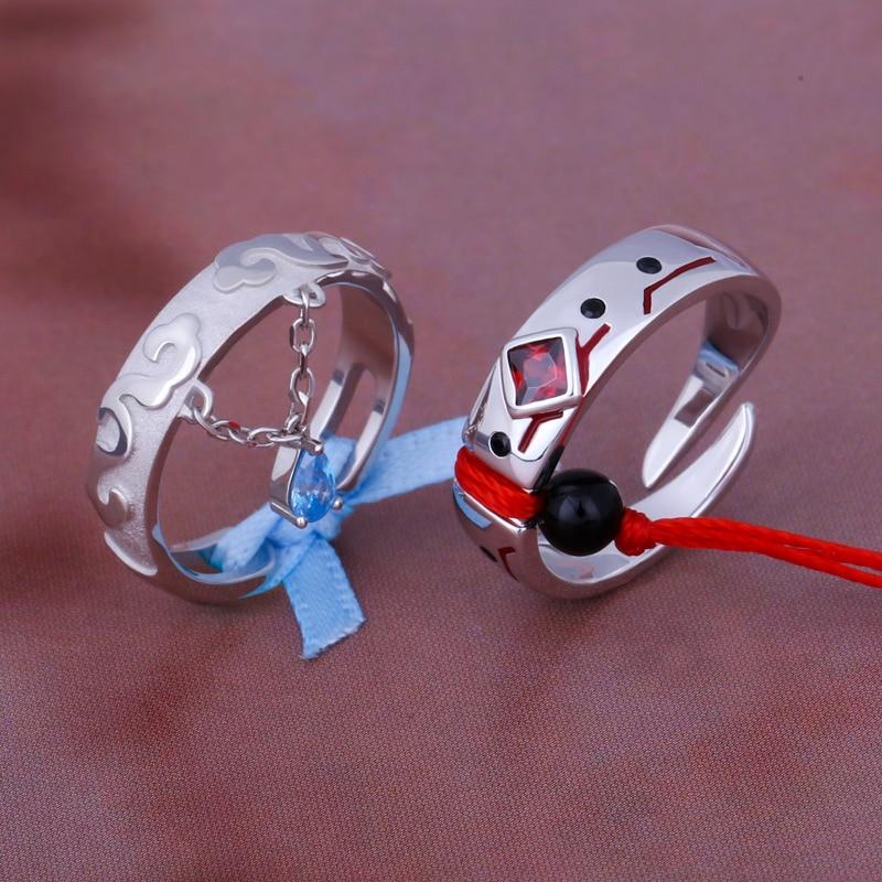 Untamed أنيمي غراندماستر من شيطاني زراعة MDZS تأثيري حلقة S925 فضة زوجين خواتم الاصبع خاتم هدايا مجوهرات أنيقة