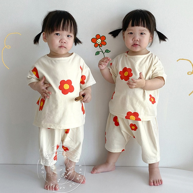 Cotton Casual Toddler Baby Girls Boys Clothes Set Flower Tops T-Shirts+Pants 2Pcs Outfits for Children Kids Summer Sleepwear summer baby kids girls clothes 3d flower print sleeveless ruffle round neck pullover t shirts denim hole pants 2pc cotton set