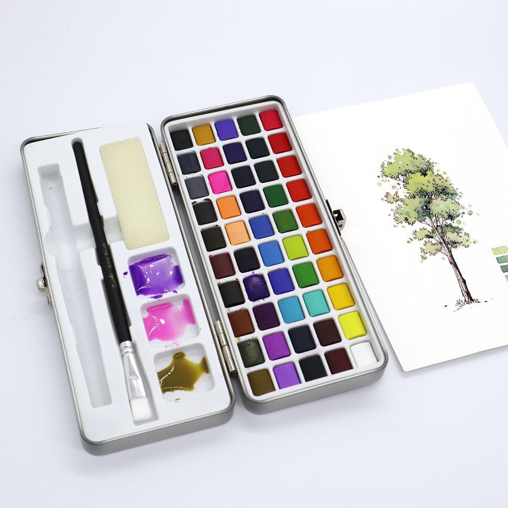 50 Color Solid Watercolor Painting Set Portable Watercolor Pigment for Artist Drawing Watercolor Coloring Paper Art Supplies